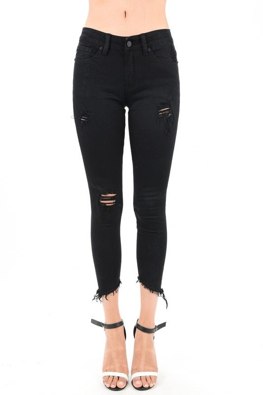 Black Distressed Slanted Ankle Skinny Jeans