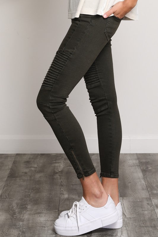 Black Washed Denim Moto Skinny Jeans