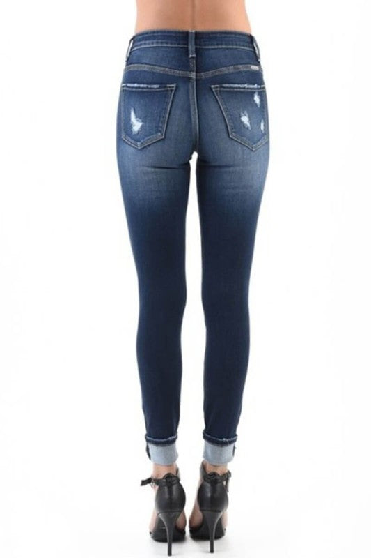 Medium Rise Button Fly Skinny Jeans