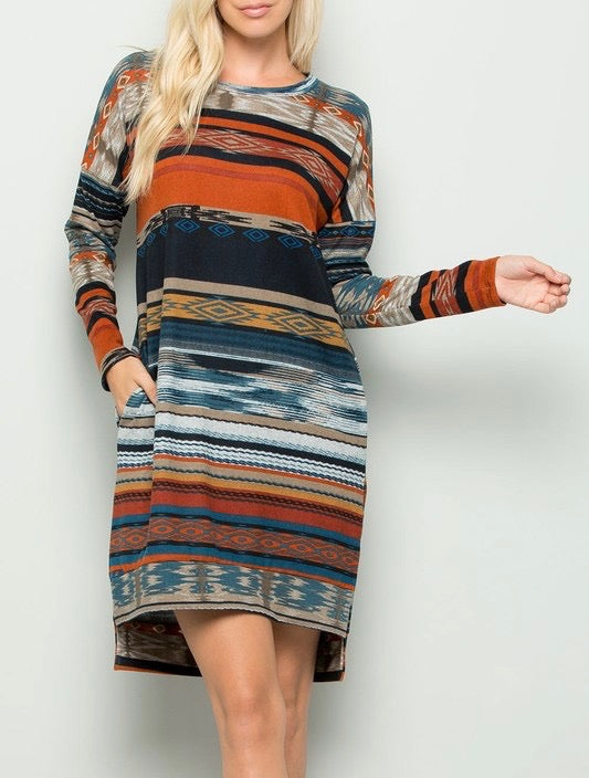 Aztec Print Tunic Dress