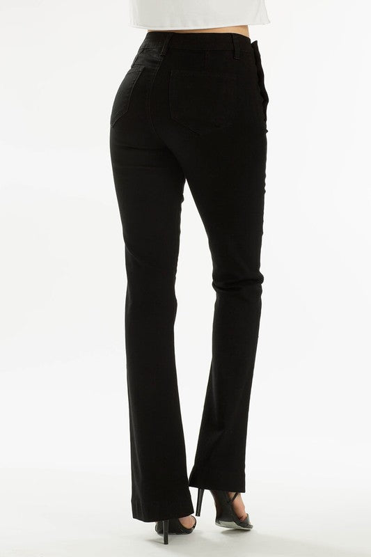 Black Super High Rise Boot Leg Jeans
