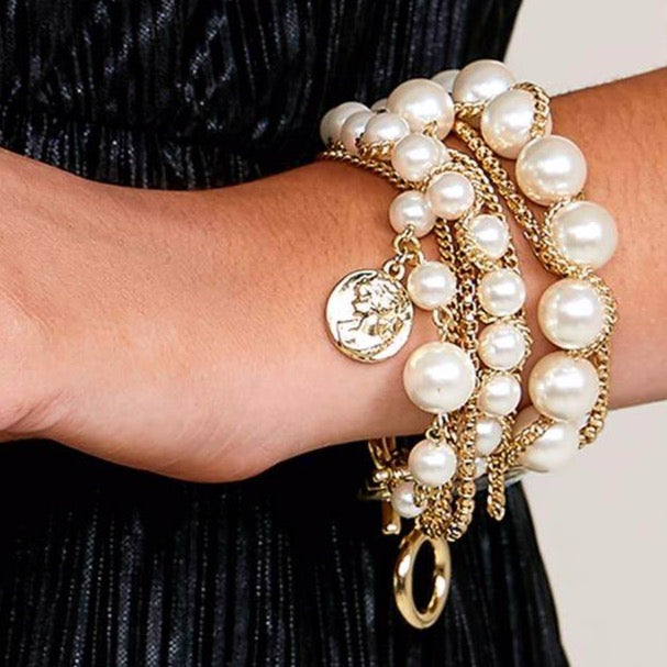 Pearl & Gold Chains Bracelet