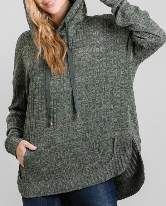 Ribbed Hoodie Pullover