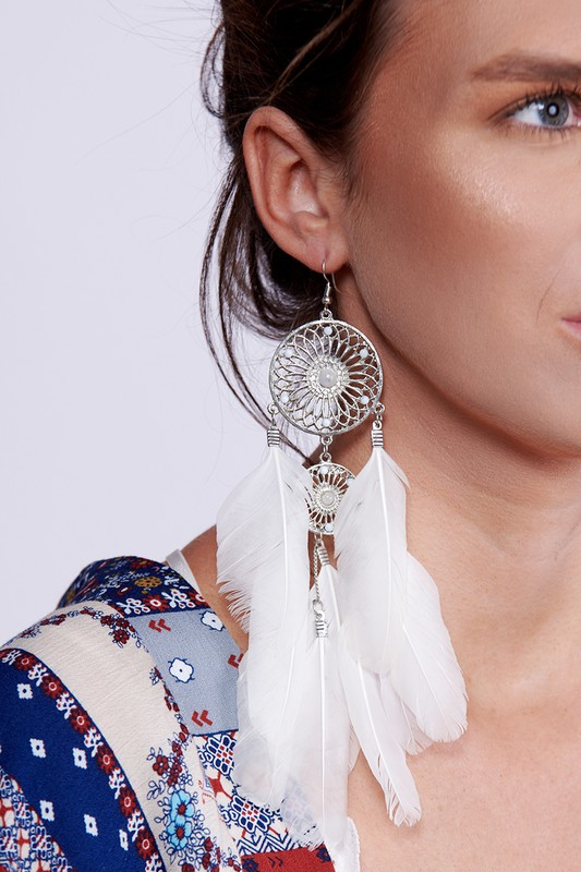 Feather Dream Catcher Earrings