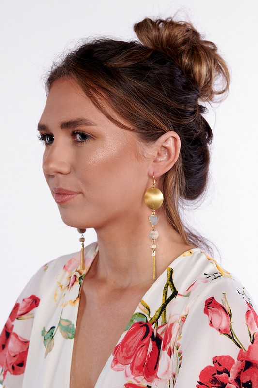 Gold Disk & Stone Earrings