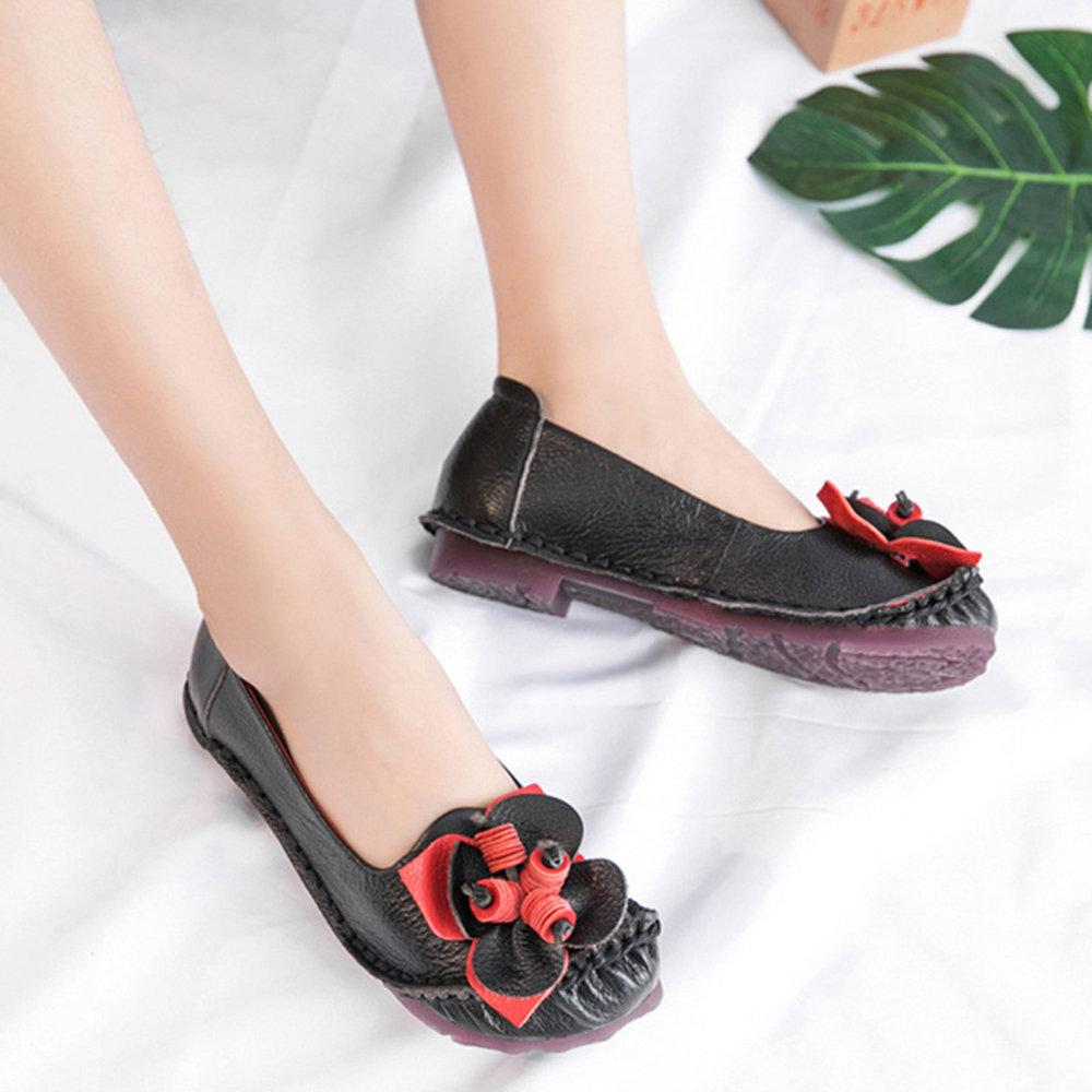 Yeeze Casual Genuine Leather Slip On Handmade Flower Pattern Soft Flat Shoes