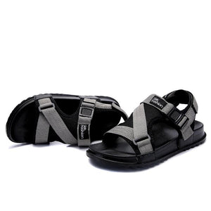 Large Size Men Canvas Hook Loop Opened Toe Comfortable Casual Sandals