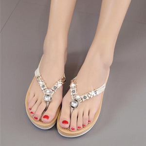 Rhinestone PU Slippers Women Slip-On Beach Flip Flops
