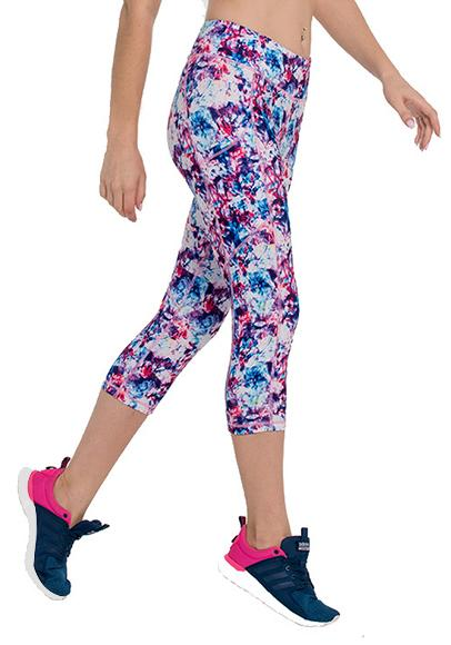 Purple Floral Printed Pocket Capris