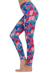Multicolor Feather Printed Pocket Leggings
