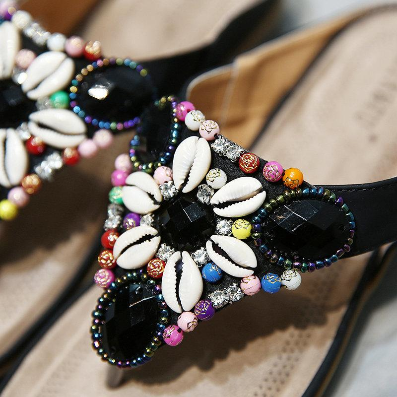 Large Size Seashell Backless Bohemian Sandals