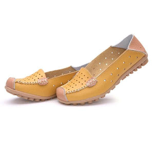 Leather Color Match Hollow Out Soft Breathable Slip On Flat Shoes
