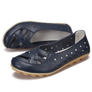 Large Size Hollow Out Breathable Soft Leather Loafers