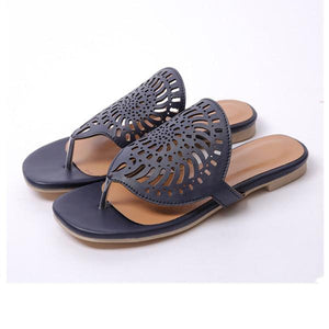 Women Pu Flip-flops Flat Heel Slippers Hollow Out Shoes