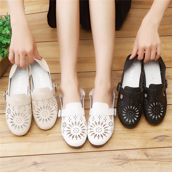 Multi-Way Hollow Out Breathable Buckle Backless Flat Loafers