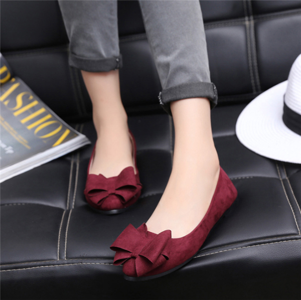 Women Soft  Bow Suede Flats Shoes
