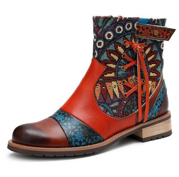 Colorful Splicing Pattern Genuine Leather Zipper Comfortable Boots