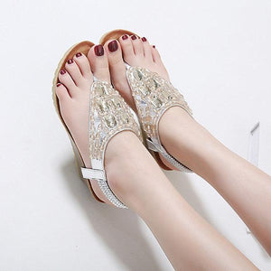 Rhinestone Clip Toe Wedges Bohemia Beach Sandals