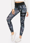 Bird And Leaf Printed High Waist Ninth Leggings