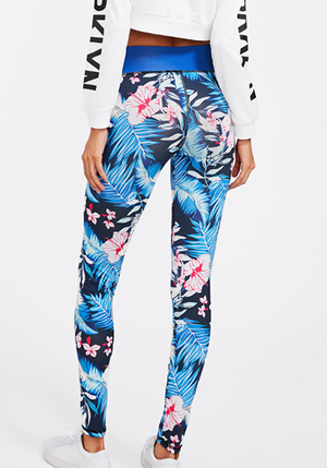 Plant Printed Panel High Waist Sports Leggings