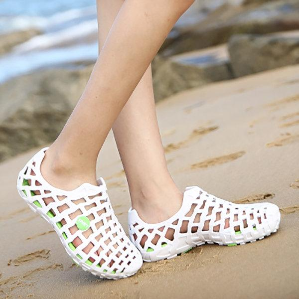 Big Size Breathable Hollow Out Pure Color Flat Casual Beach Sandals