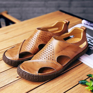 Men Breathable Cow Leather Slip Resistant Casual Sandals