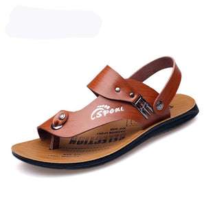 Men Leather Clip Toe Wear-resistant Casual Sandals