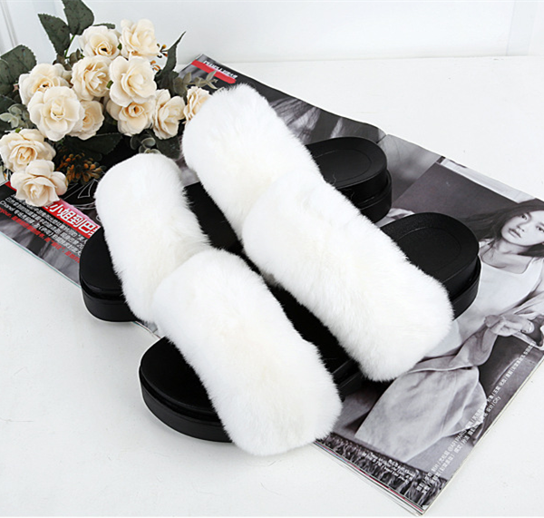 Double Fur Cute Slide Flat Slip On Open Toe Slippers