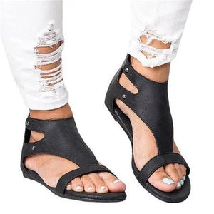 Rivets Opened Toe Zipper Flat Sandals