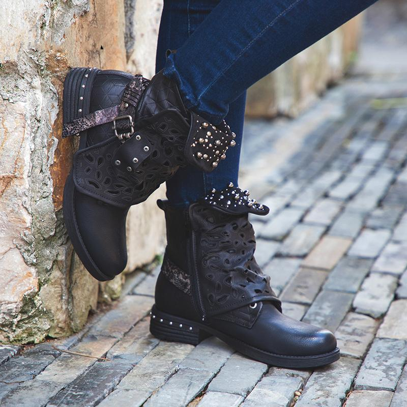 Women Zipper Rivet Buckle Lace-up Round Toe Ankle Boots