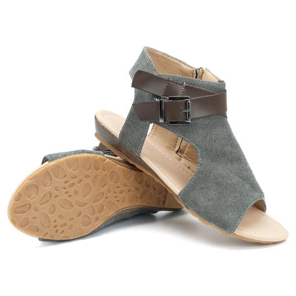 Canvas Buckle Decoration Peep Toe Flat Zipper Sandals