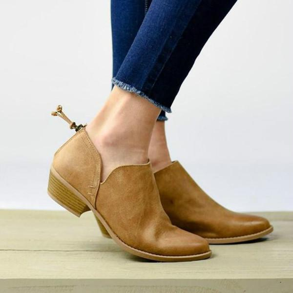 Chunky Low Heel Pointed Shoes PU Ankle Boots