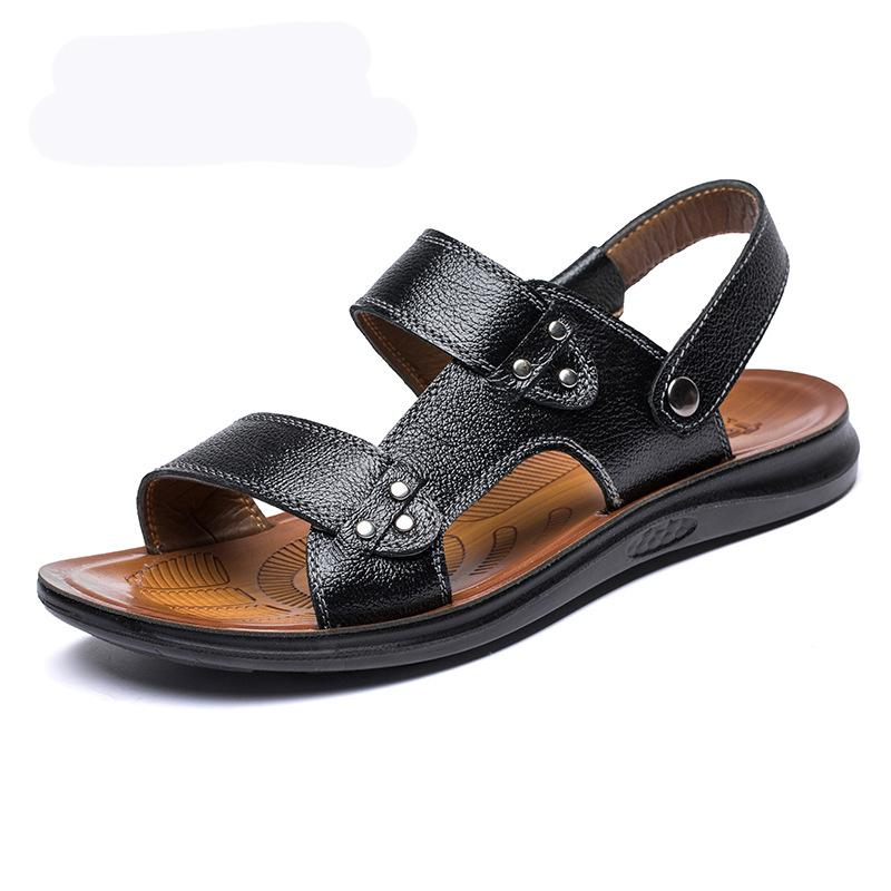 Men Leather Opened Toe Water Friendly Outdoor Sandals