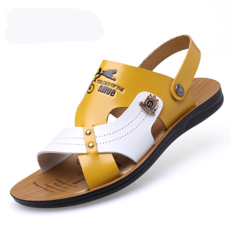 Men Microfiber Leather Toe Breathable Casual Beach Antiskid Sandals
