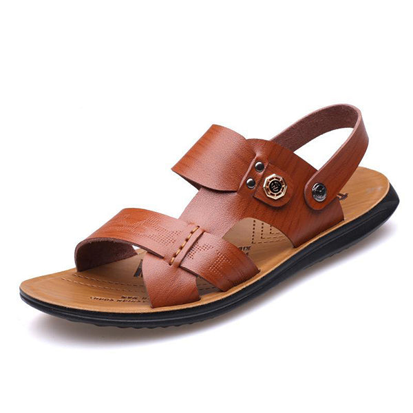 Mens Leather Breathable Toe Casual Beach Sandals