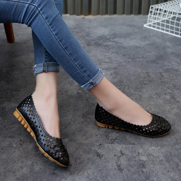Hollow Out Soft Comfortable Lazy Casual Flat Loafers