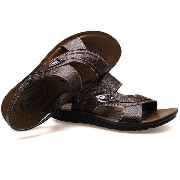 Men Opened Toe Breathable Soft Water Friendly Leather Sandals