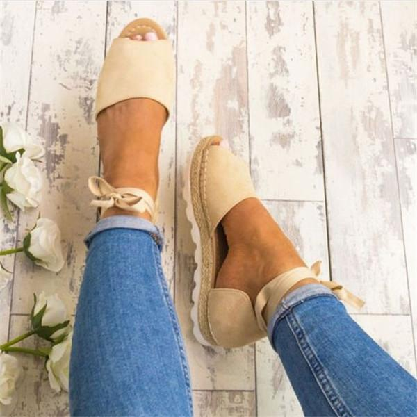 Women Lace-up Casual Flocking Platform Sandals