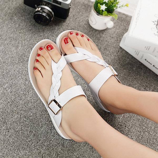Leather Knitting Buckle Clip Toe Flat Flip Flops
