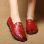 Soft Leather Stitching Pure Color Flat Shoes