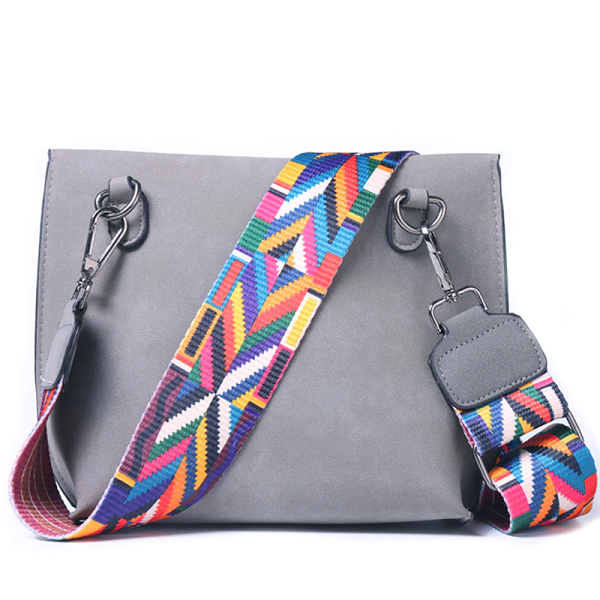 women's handbag with a colored belt