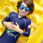 Boys Sun Protection One-piece Swimming Snorkeling Swimsuit with Hat