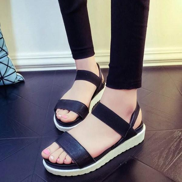 Pure Color Peep Toe Color Match Slip On Elastice Flat Sandals