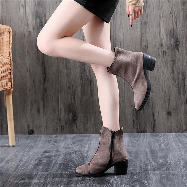 Women Pure Color Suede Zipper Chunky Heel Short Knight Boots