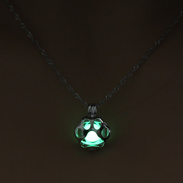 Glow in The Dark Dog Paw Necklace
