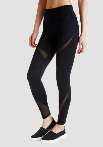 Splicing Mesh High Waist Capri