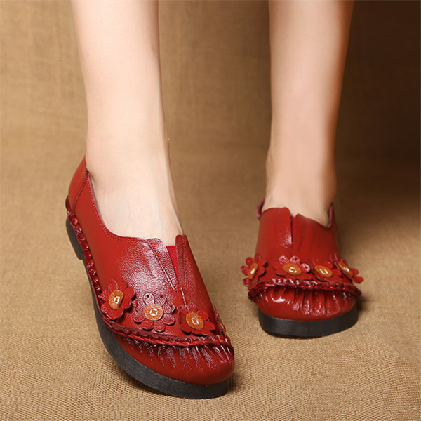Handmade Floral Leather Retro Casual Flat Shoes