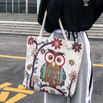 Women Lady Retro Lovely Owl Canvas Bag
