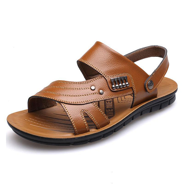 Men Leather Slip Resistant Outdoor Casual Beach Sandals