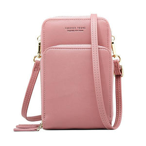 Women Solid PU leather Clutch Bag Card Bag Phone Bag Crossbody Bag